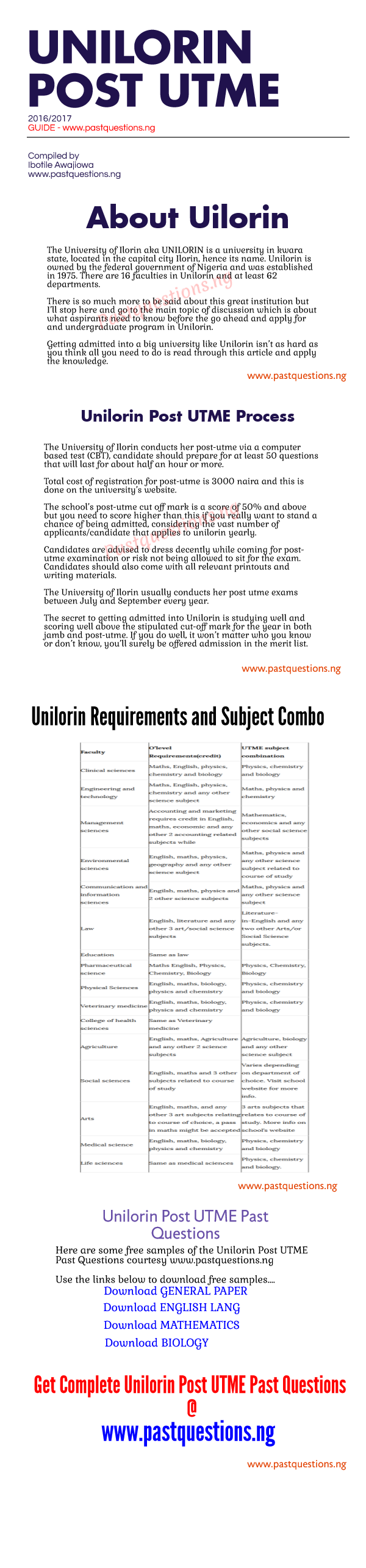 unilorin post utme infographic